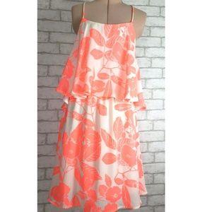 Alga T-Strap Ruffle Top Floral Party Dress Small